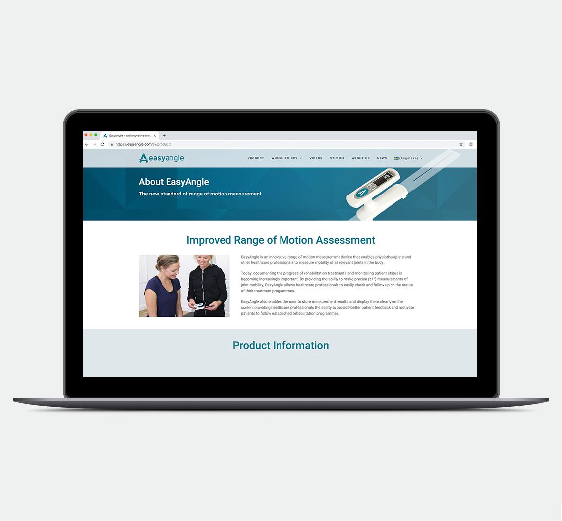 EasyAngle •  design av webbsida (inkl foto)