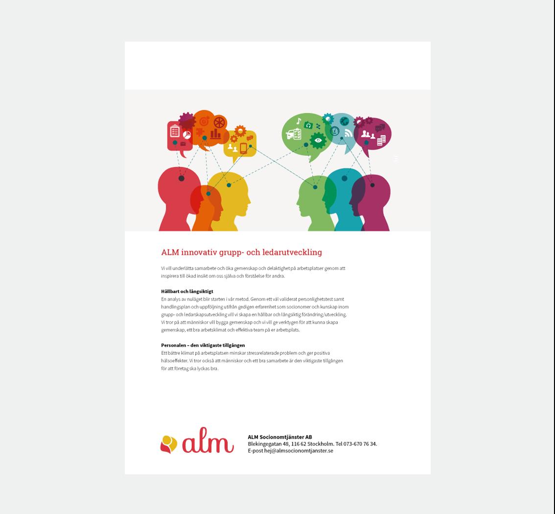 ALM • koncept och design för nytt arbetsområde • design av folder • illustrationer • konceptbilder