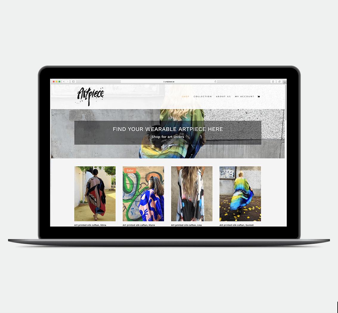 Artpiece.se • design av webbsida