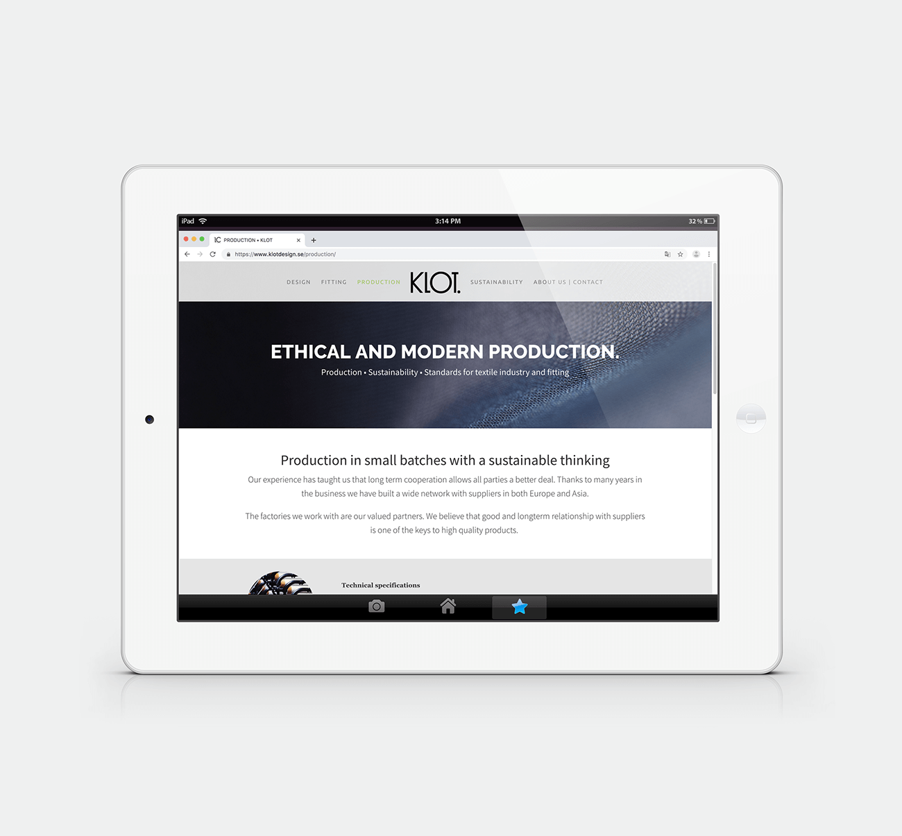 KLOT • design av webbsida