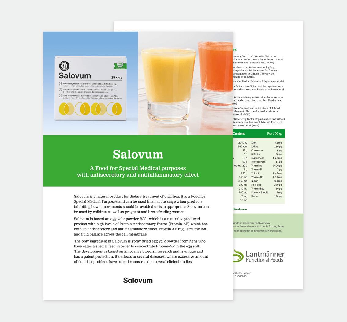 Salovum • Lantmännen Functional Foods • design av produktblad